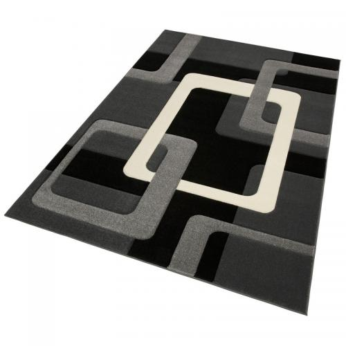 my home - Tapis motif graphique carré ou rectangulaire Maxim My Home - Noir - Tapis de salon