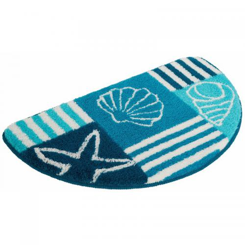 my home - Tapis de bain demi-cercle My home Nancy - Bleu - Linge de maison