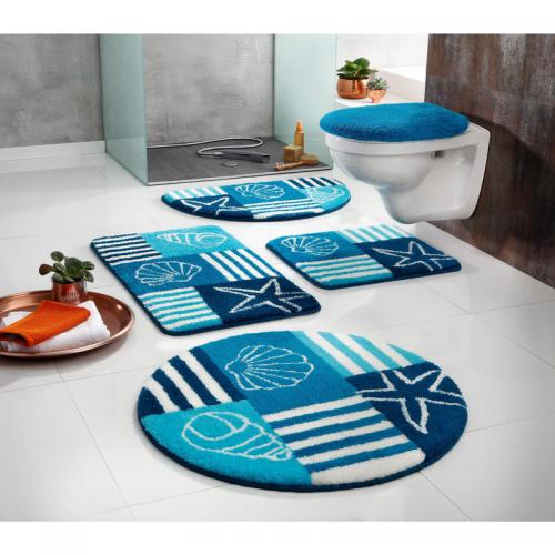 Tapis de bain demi-cercle My home Nancy - Bleu my home