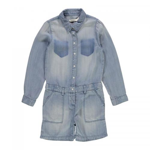 Name It - Combi-short manches longues denim fille Name it - Denim Bleu - Vêtements fille
