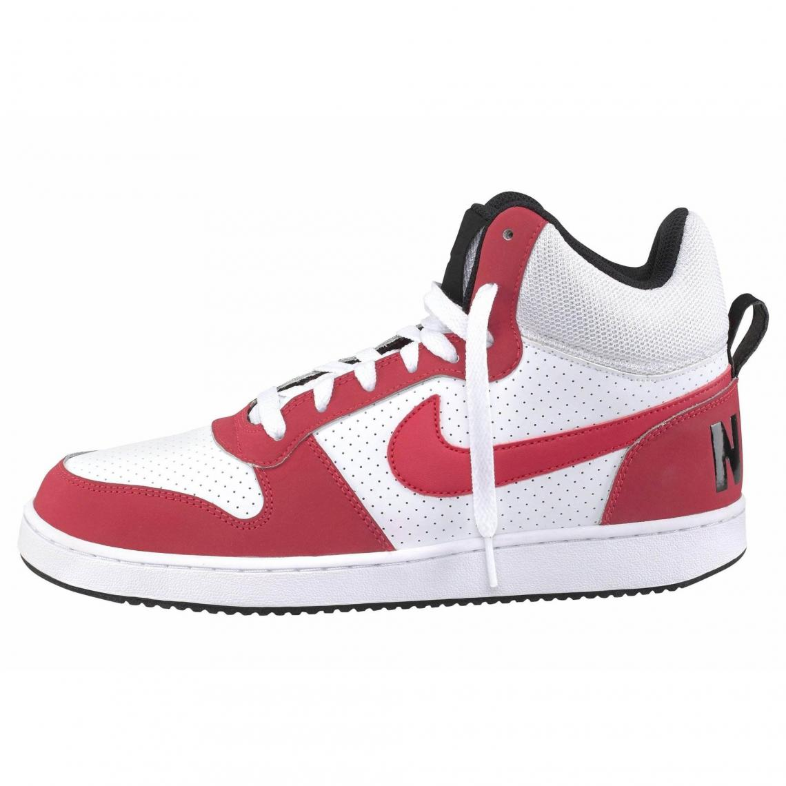 78c963ef83ed Nike Court Borough Mid chaussure semi-montante homme - Blanc - Rouge ...