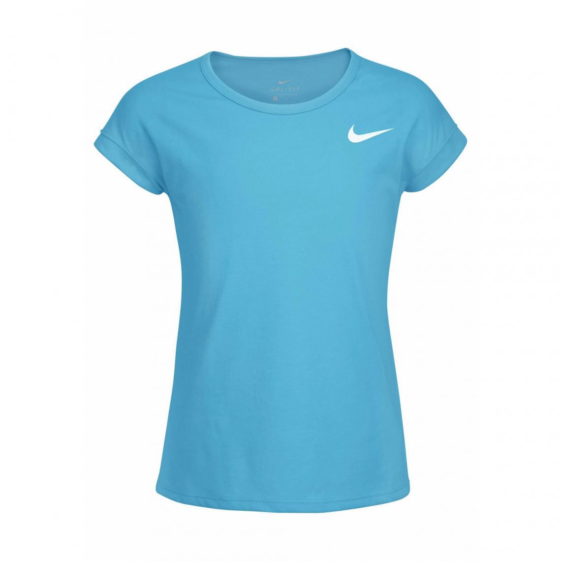 Tee-shirt col rond manches courtes fille Nike Dry - Bleu Nike edc4c25dbde