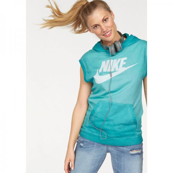 Sweat-shirt de sport femme long à capuche sans manches Sleeveless PO Hoody Wash Nike - Bleu Nike Femme
