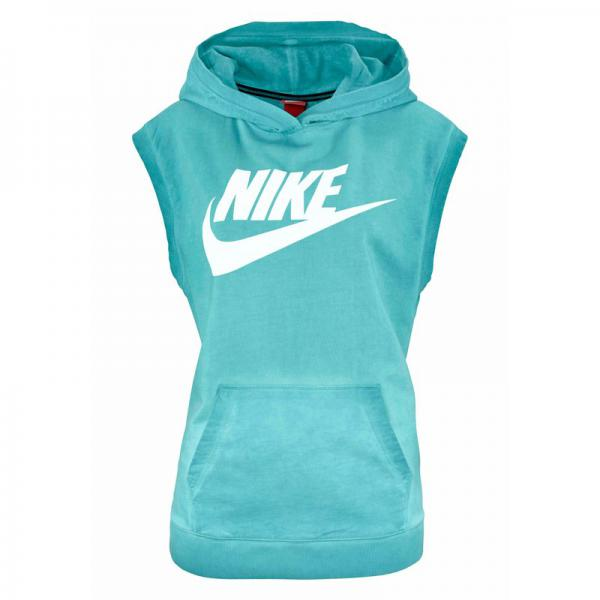 Sweat-shirt de sport femme long à capuche sans manches Sleeveless PO Hoody Wash Nike - Bleu Nike