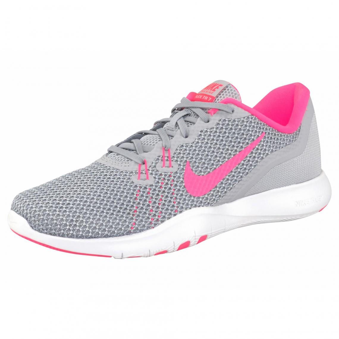 best sneakers 52a84 5a28f Chaussures de running Flex Trainer 7 Nike pour femme - Gris - Rose Vif Nike  Femme