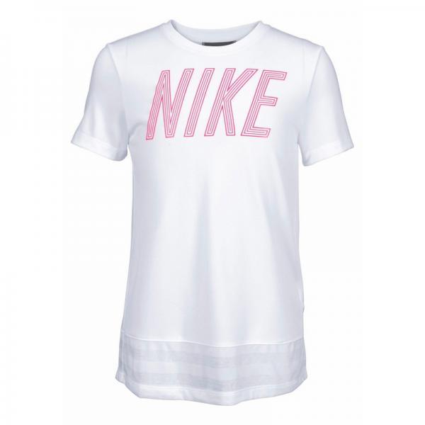 T shirt col rond manches courtes fille Dri FIT® Nike Blanc Plus de détails