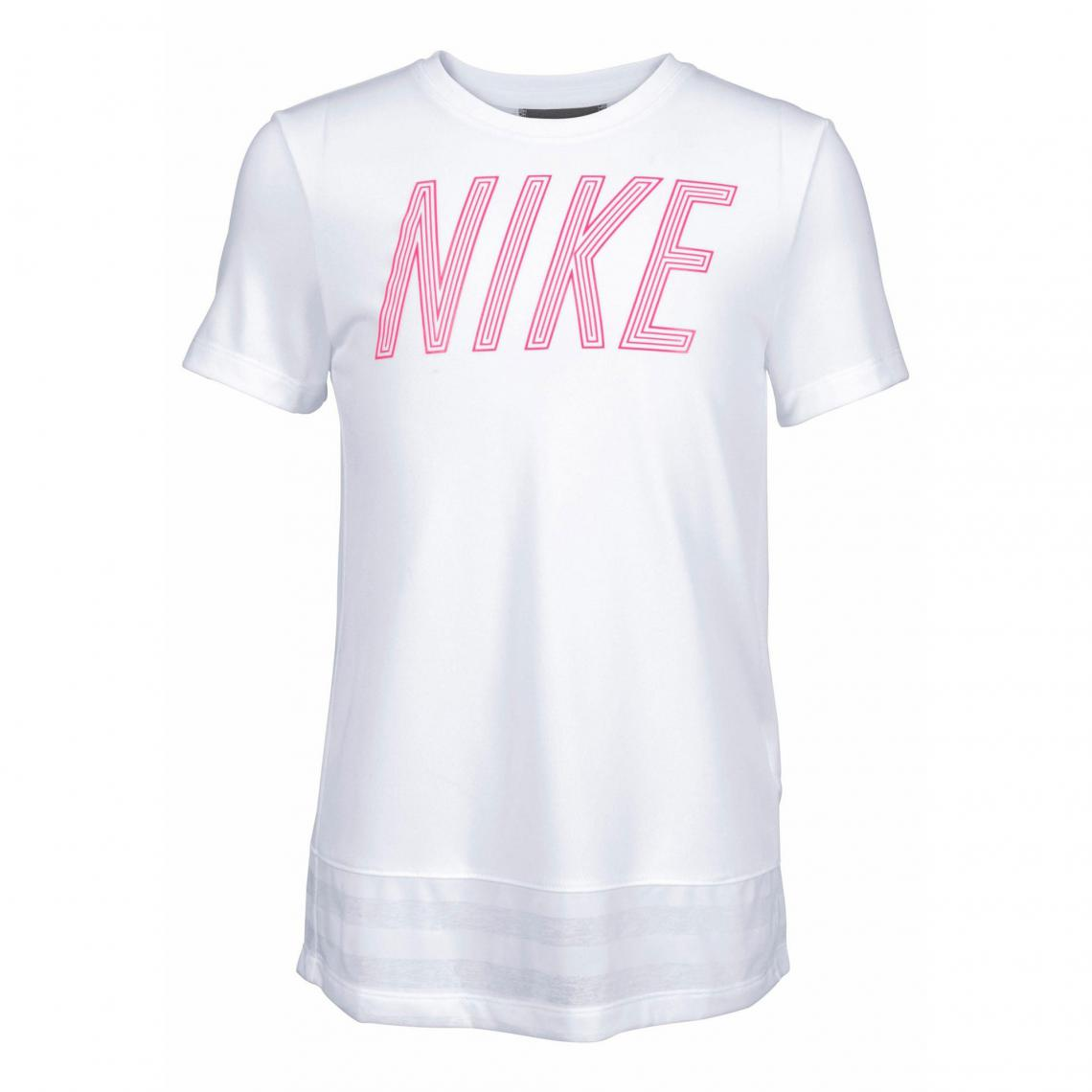 02a7203380b T-shirt col rond manches courtes fille Dri-FIT® Nike - Blanc Nike