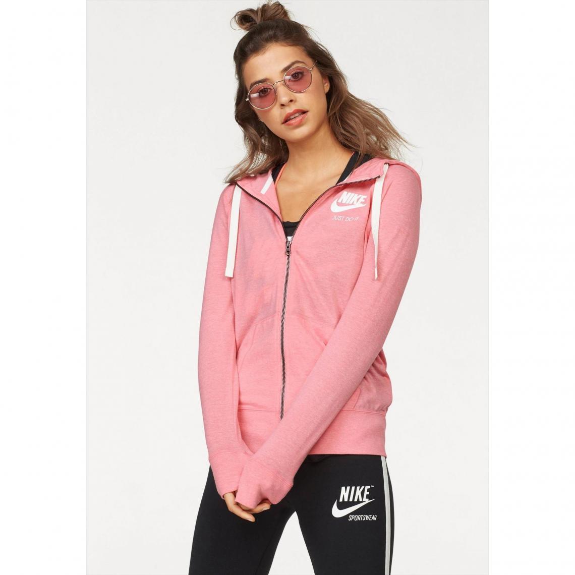 6cb553e05b Sweat zippé à capuche femme Nike - Rose | 3 SUISSES