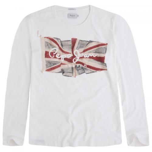 Pepe Jeans - T-shirt manches longues Flag Tee L/S homme Pepe Jeans - Blanc - T-shirt / Polo