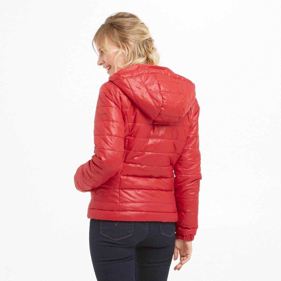1d7cc6e1fe92 Doudoune courte à capuche Alania femme Pepe Jeans - Rouge