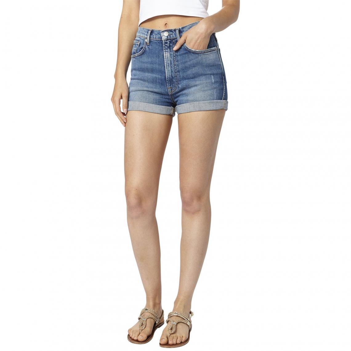 9e3a747b97b Short en jean slim femme Pepe Jeans - Bleu Pepe Jeans Femme