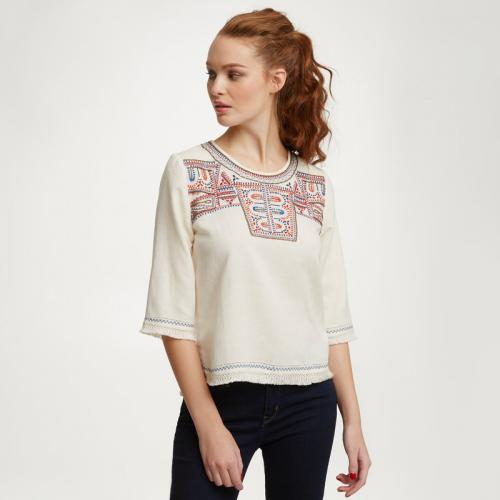 Pepe Jeans - Blouse folk à manches 34 femme Pepe jeans - Blanc - Pepe jeans