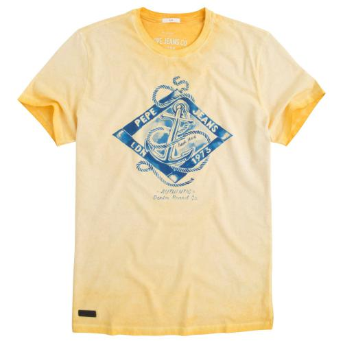 92a20d9b184ea Pepe Jeans - Tee-shirt manches courtes coton homme Pepe Jeans - Jaune - Pepe