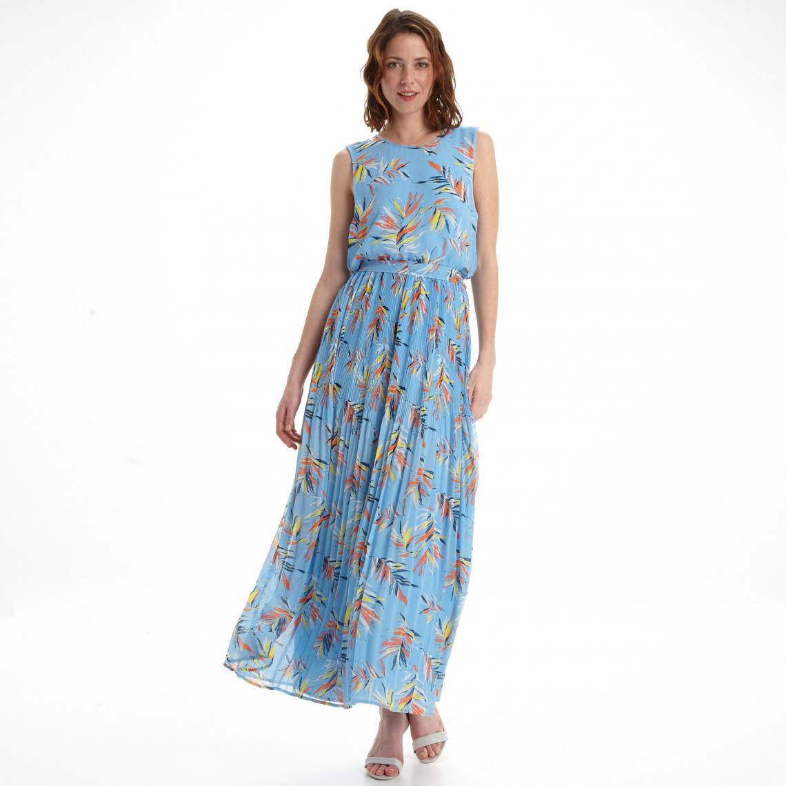 Robe Longue Imprime Feuillage Femme Pepe Jeans Bleu Ciel 3 Suisses