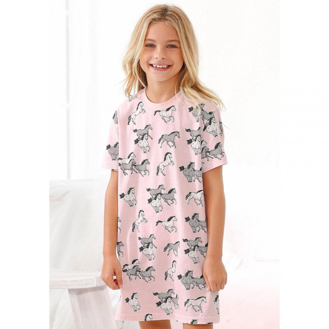 06caa10019fc3 Petite Fleur Mädchen Nachthemd mit Allover Pferde-Print - Rose Petite Fleur  Enfant