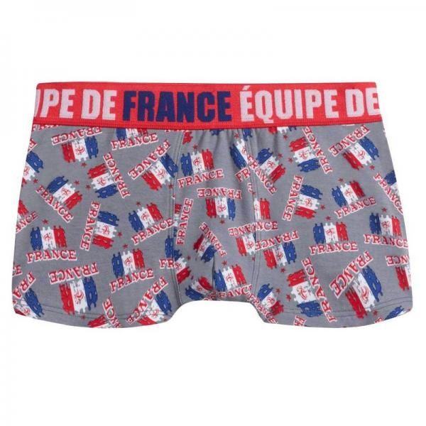 Boxer officiel Equipe de France de football boy Supporter POMM'POIRE - Gris Pomm Poire Enfant