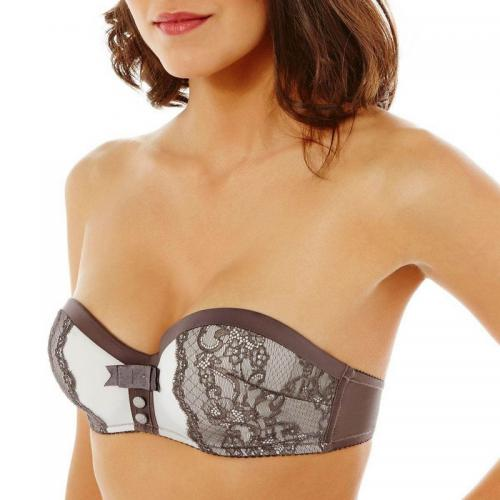 Pomm Poire - Soutien-gorge bandeau push-up chocolat So Chic POMM'POIRE - Marron - Pomm' Poire
