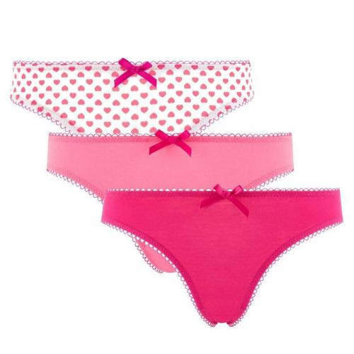 "Lot de 3 slips girl fuchsia, "" imprimé coeur Love POMM'POIRE - Multicolore"