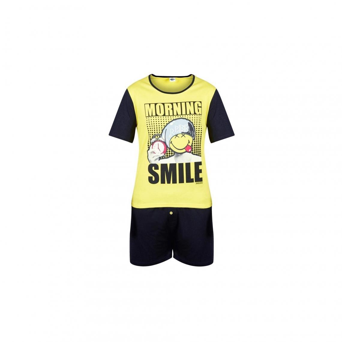 Pyjama court Morning Smile by Smiley POMM'POIRE - Jaune - 3Suisses