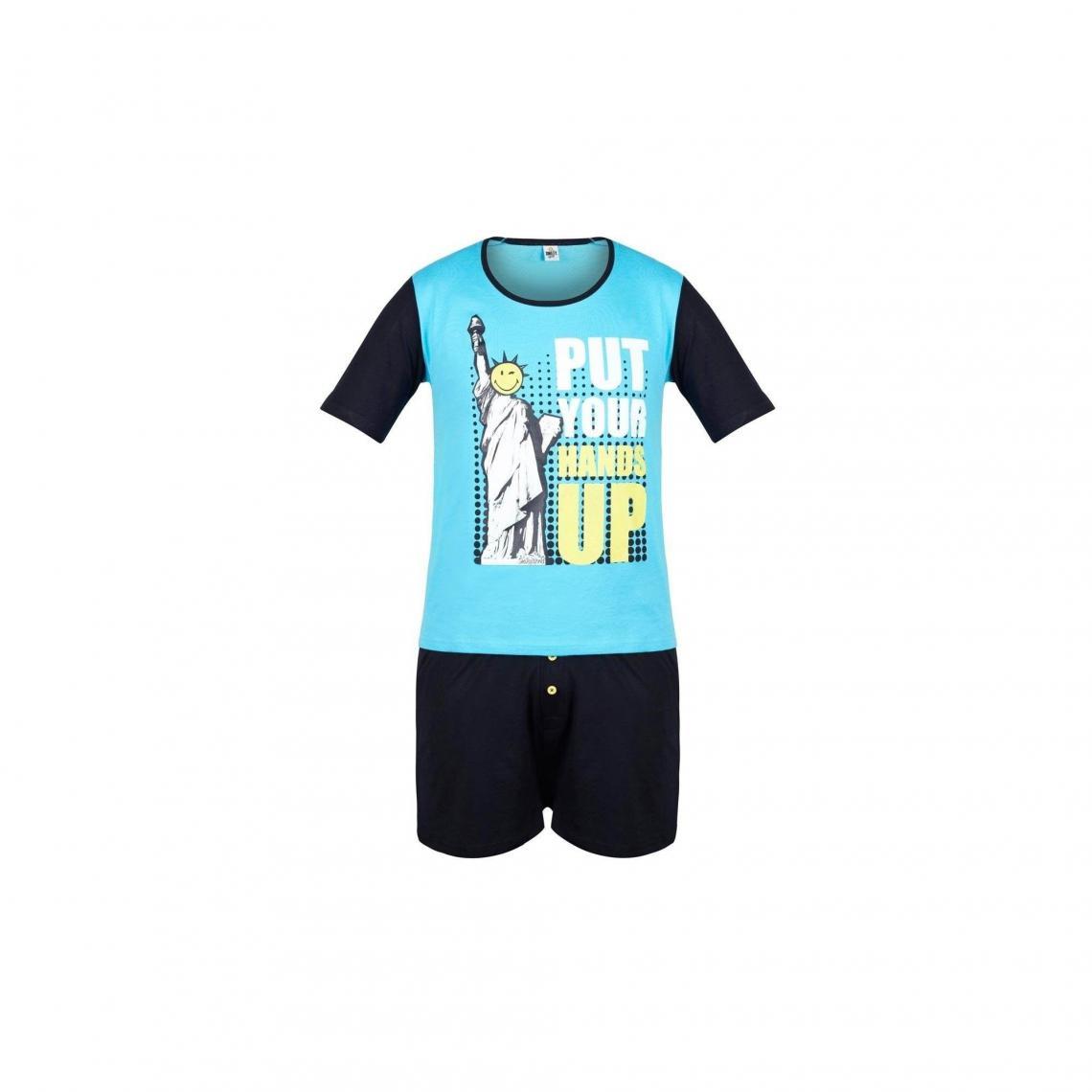 Pyjama court Hands Up by Smiley POMM'POIRE - Bleu - 3Suisses