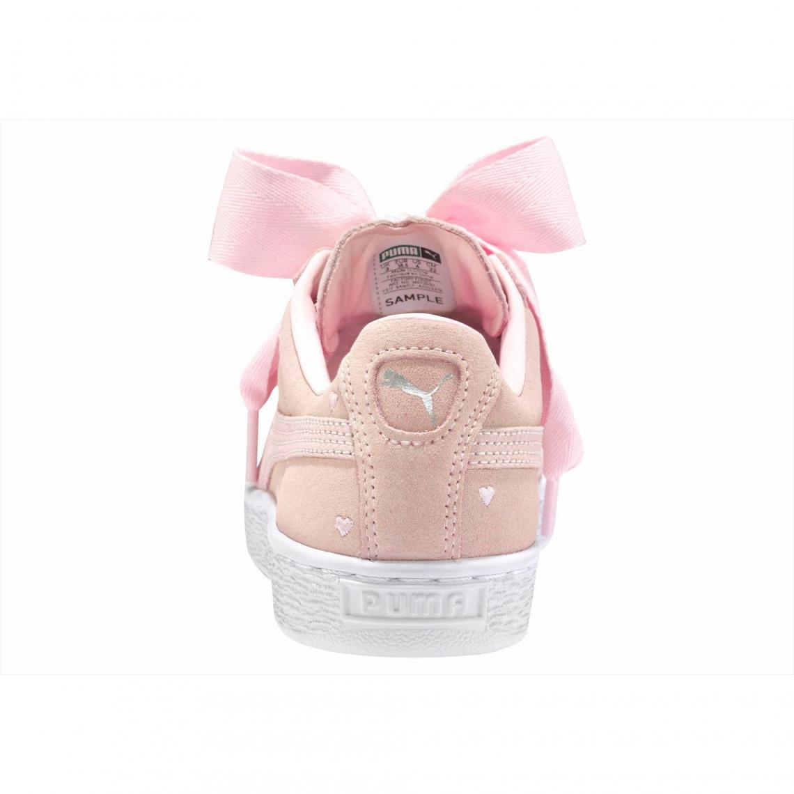 Heart Puma Rosé Suede De Valentine Chaussures Blanc Sport Fille wqTXv6t