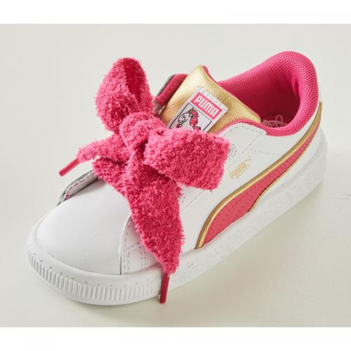 Puma - PUMA Sneaker »Minions Basket Heart Fluffy Inf« - Blanc - Rose Vif - Promos chaussures, accessoires enfant