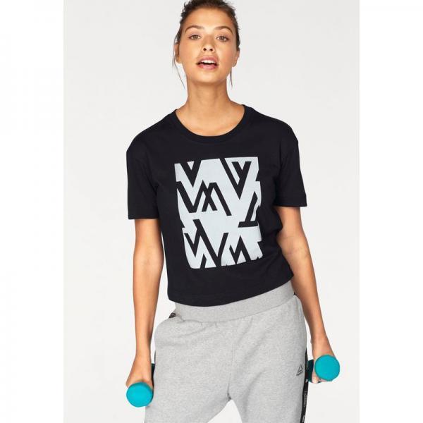 Reebok Noir Easy Tee Shirt Femme Imprimé Wor 5RjL34Aq
