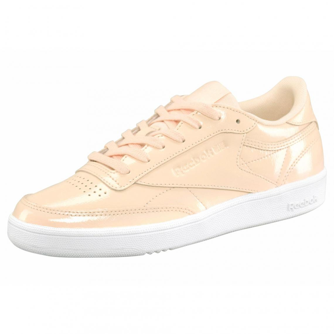 Sneakers en cuir verni brillant femme Classique Club C85 Patent Reebok Rose Plus de détails