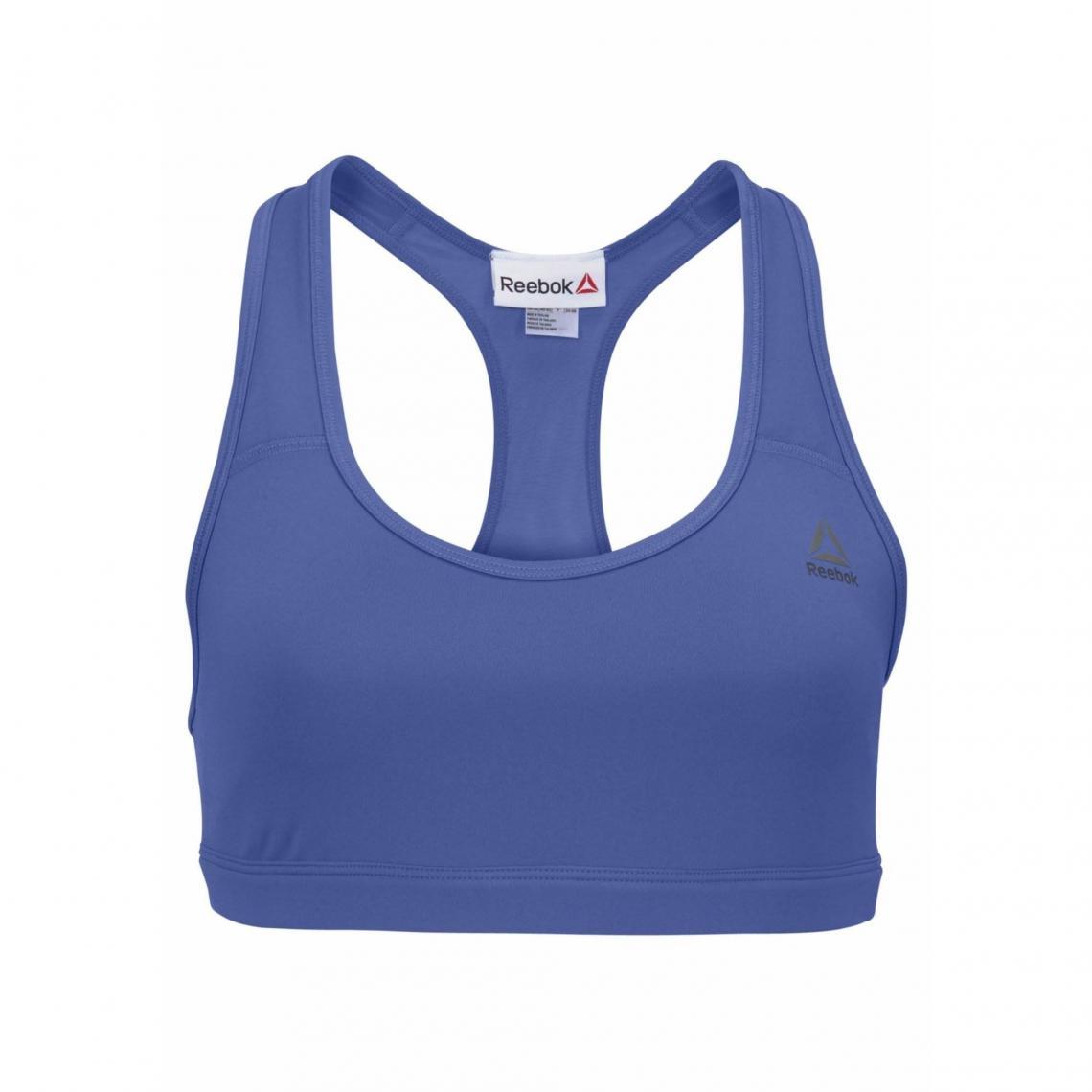 Brassière sport dos nageur femme Reebok - Bleu Reebok e03bdb7b6b8