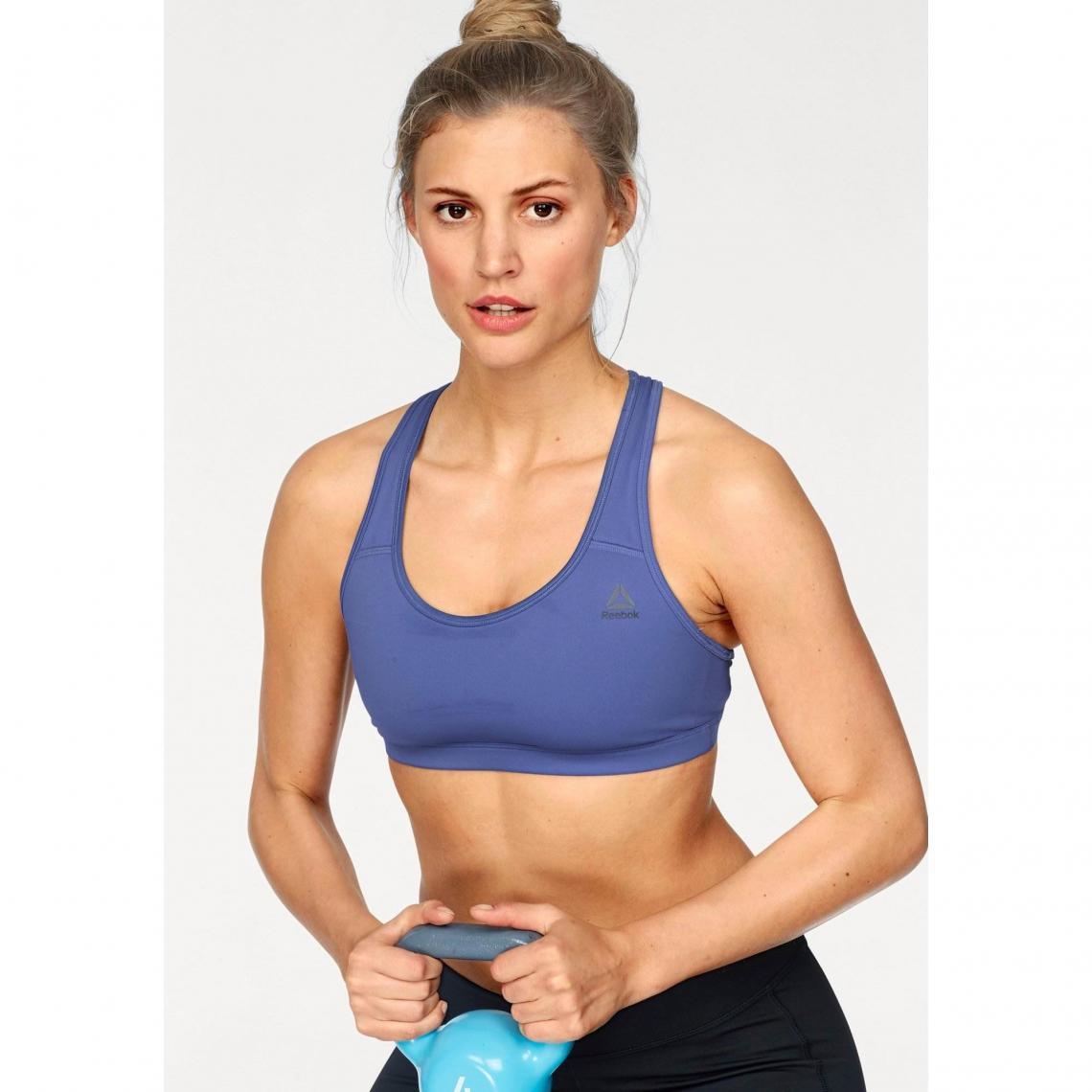 Brassière sport dos nageur femme Reebok - Bleu Reebok Femme 47a1c53e439