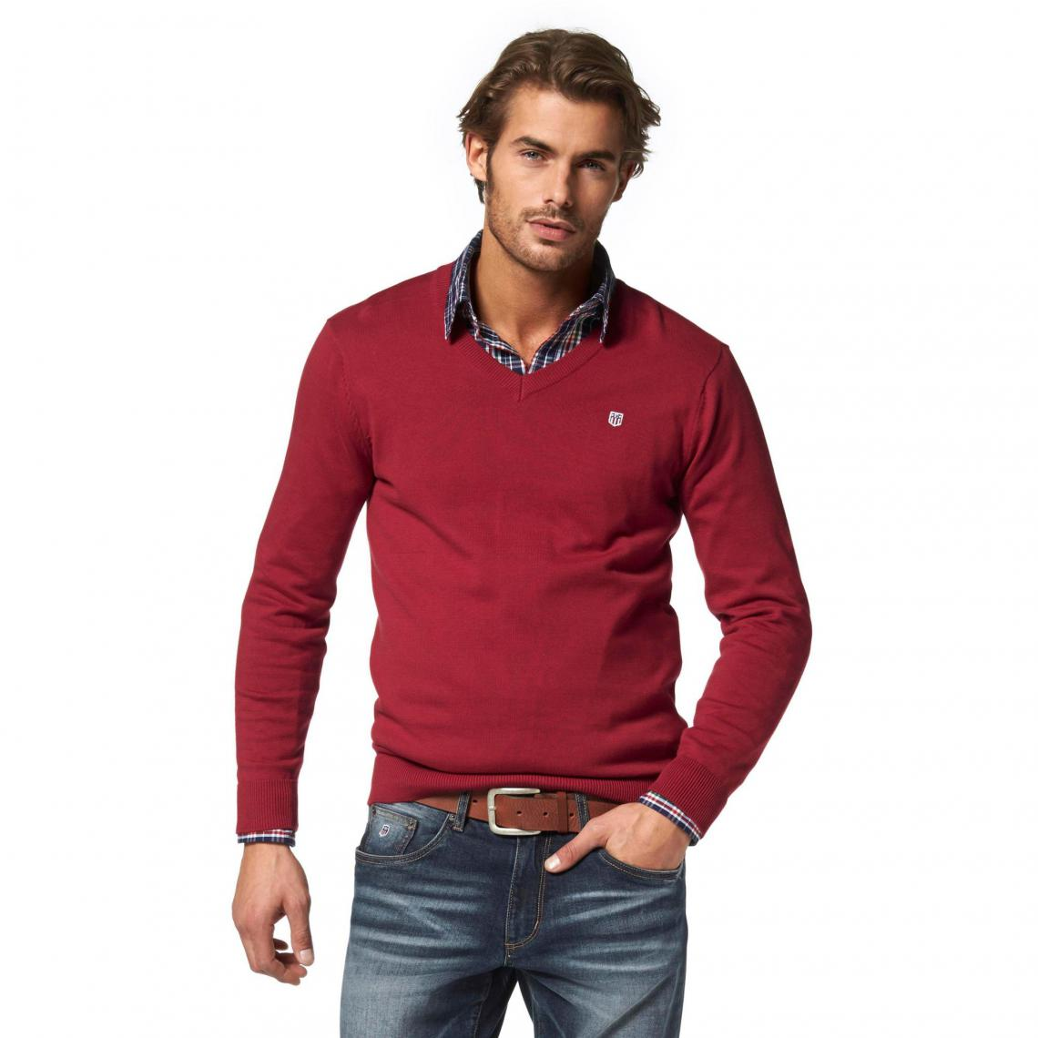 1818f5d4984 Pull col V manches longues coton homme Rhode Island - Rouge Rhode Island  Homme