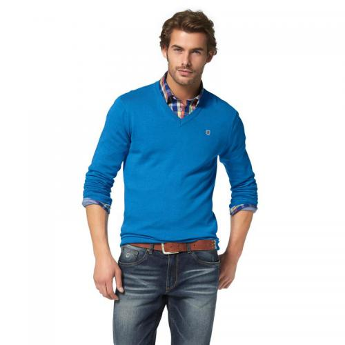 Rhode Island - Pull col V manches longues coton homme Rhode Island - Bleu - Pulls homme