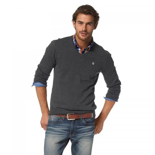 Rhode Island - Pull col V manches longues coton homme Rhode Island - Gris - Pull / Gilet / Sweatshirt