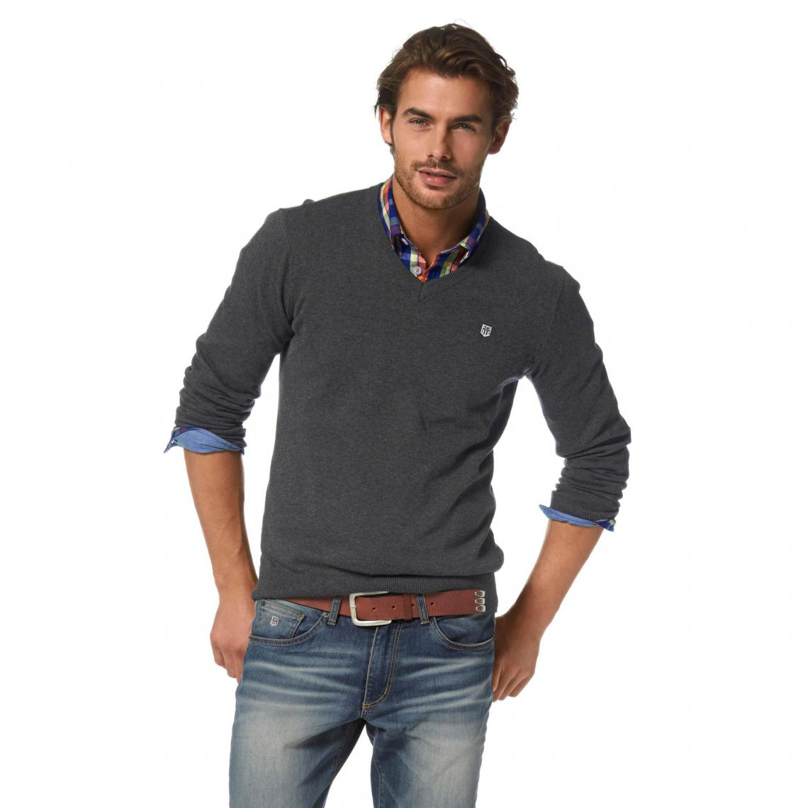 3a040212d7a Pull col V manches longues coton homme Rhode Island - Gris Rhode Island  Homme