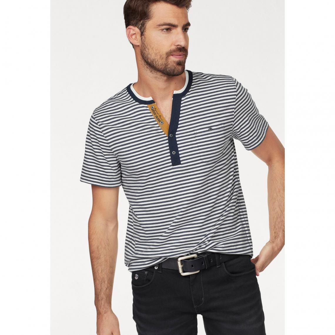 057ecb793aa05 T-shirt rayé manches courtes col rond boutonné homme Rhode Island ...