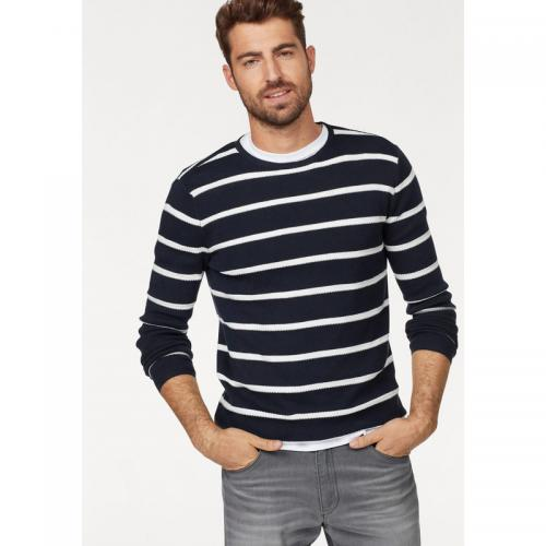 Rhode Island - Pull col rond manches longues rayé Rhode Island - Marine - Blanc - Pulls homme