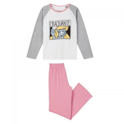 882f584f6bc44 Schtroumpfs - Pyjama long fille Schtroumpfs - Gris - Pyjama