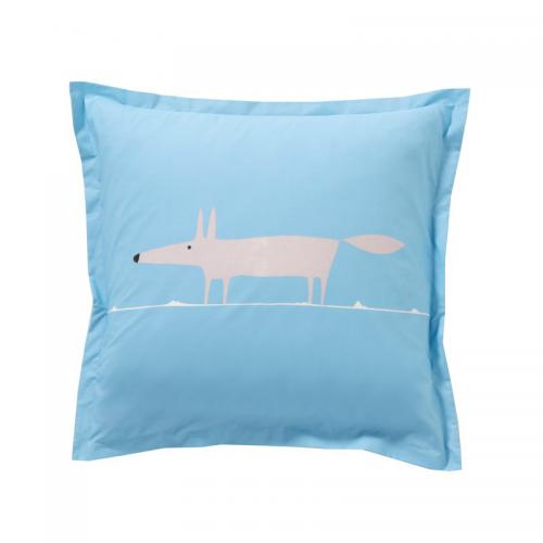 Taie d'oreiller ou de traversin en percale de coton Mr.Fox Scion Living - Bleu