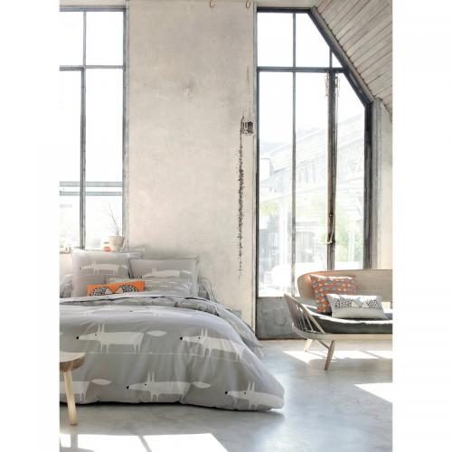 Housse de couette 1 ou 2 personnes percale imprimé Mr Fox Scion Living - Gris