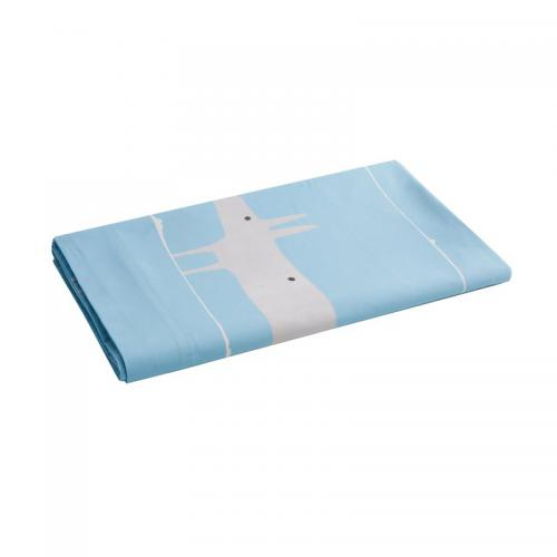 Drap plat en percale de coton imprimé Mr.Fox Scion Living - Bleu