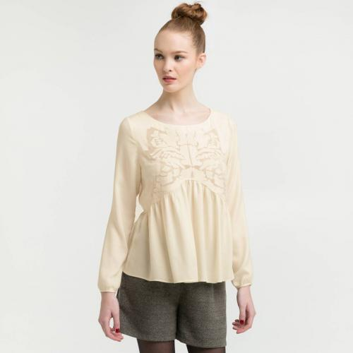 See u Soon - Blouse brodée manches longues esprit folk femme See U Soon - Blanc - Promotions