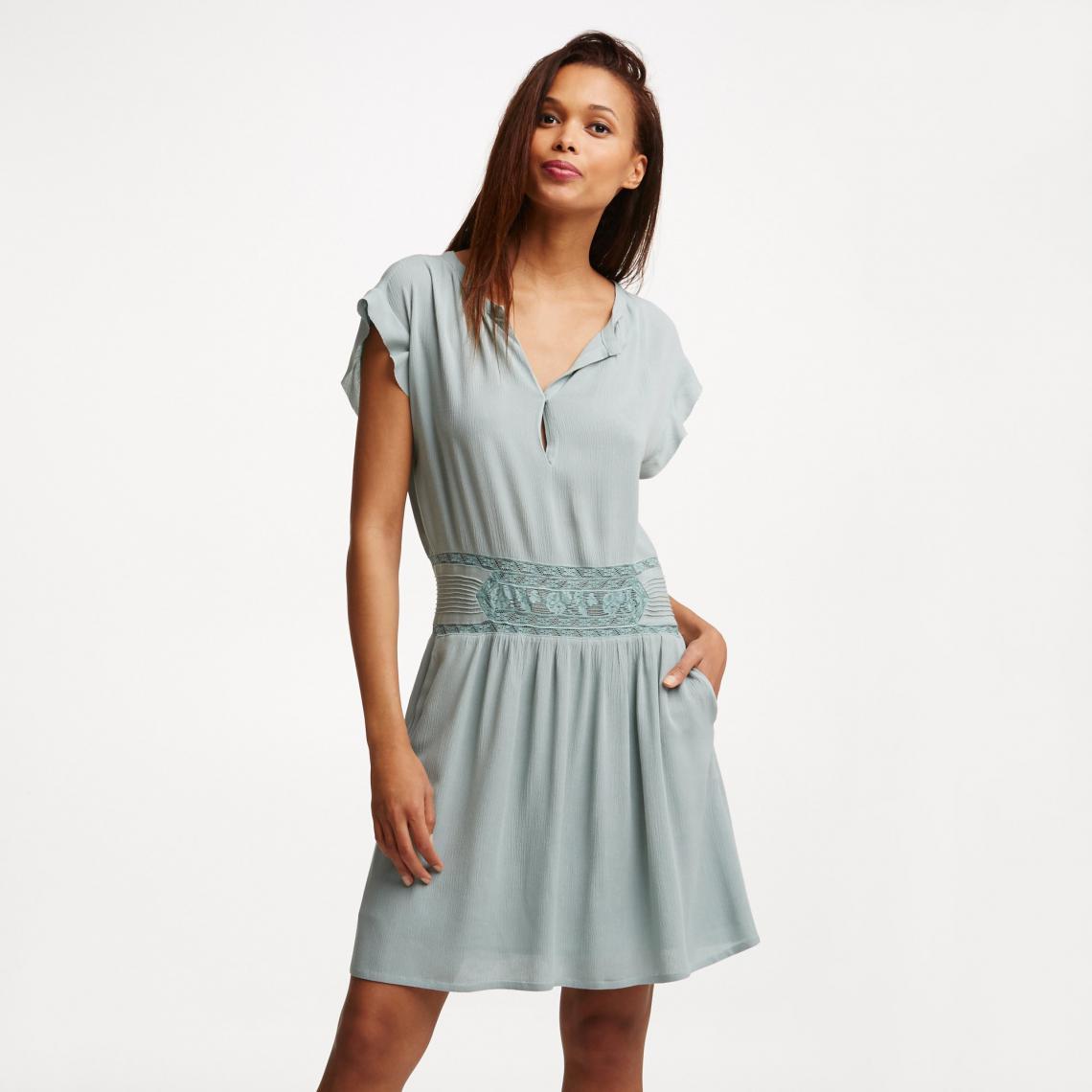 4912d83e29a Robe courte fluide taille dentelle femme See U soon - Vert See u Soon Femme