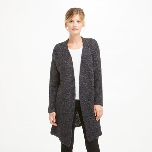 See u Soon - Gilet long manches longues femme See U Soon - Gris - Gilets col V femme
