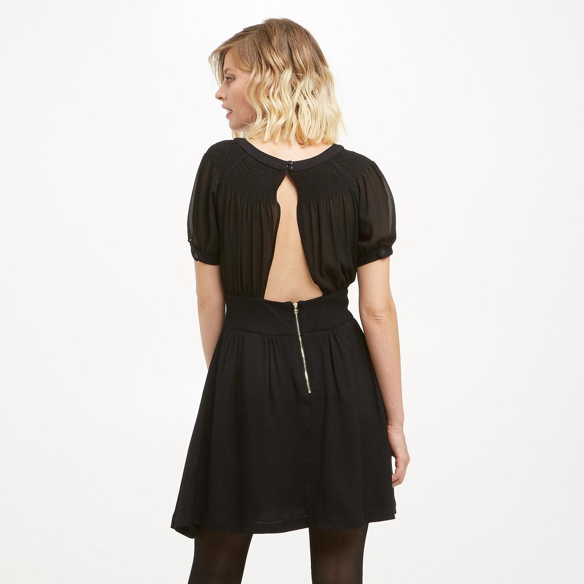 7b0534376da Robe courte col rond manches courtes unie femme See U Soon - Noir ...