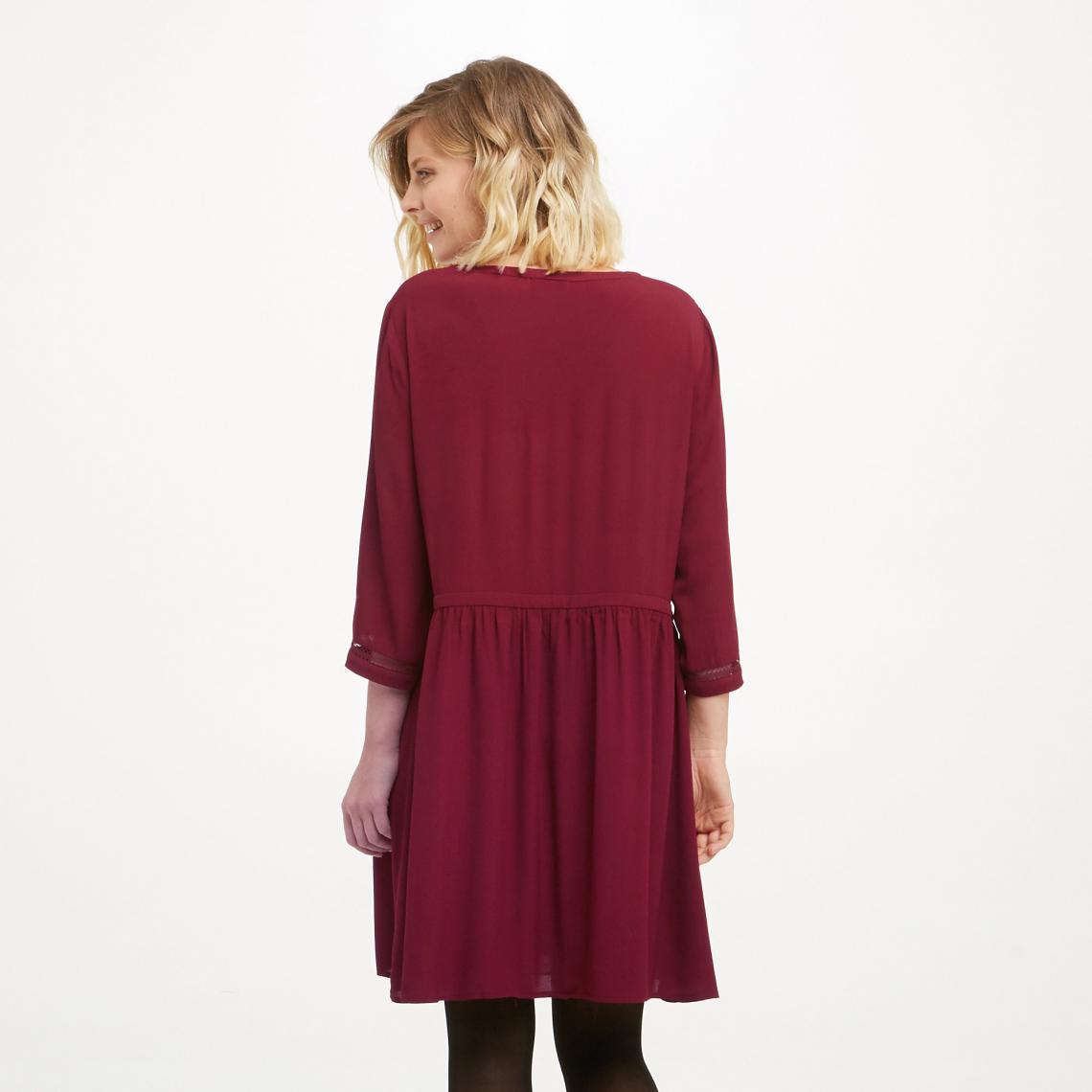 Femme U 3suisses Soon Robe 34 See Courte Bordeaux Manches nfqwxvR