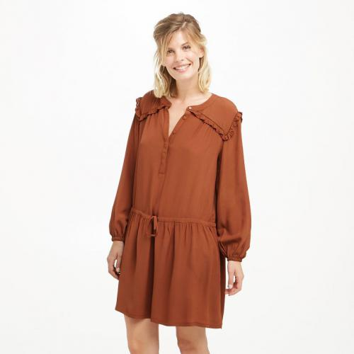 See u Soon - Robe courte manches longues volants femme See U Soon - Marron - Robe courte
