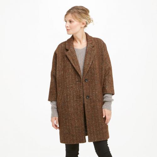 5bcc9b61e Manteau drap de laine mélangée manches 3/4 femme See U Soon - Marron