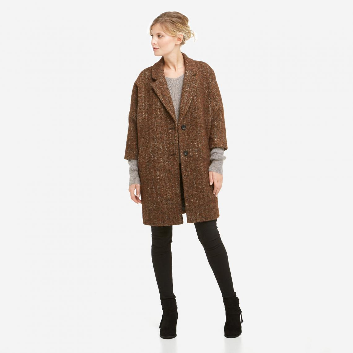 Manteau d'hiver en laine, uni, col à rabat   3 SUISSES