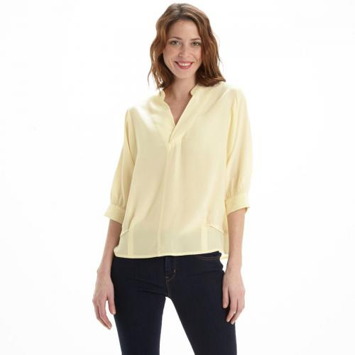 See u Soon - Blouse unie ample manches 3/4 femme See U Soon - écru - Blouses manches courtes femme