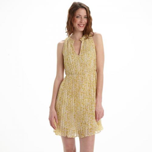 See u Soon - Robe courte sans manches plissée femme See U Soon - Jaune - 4696aaf4580